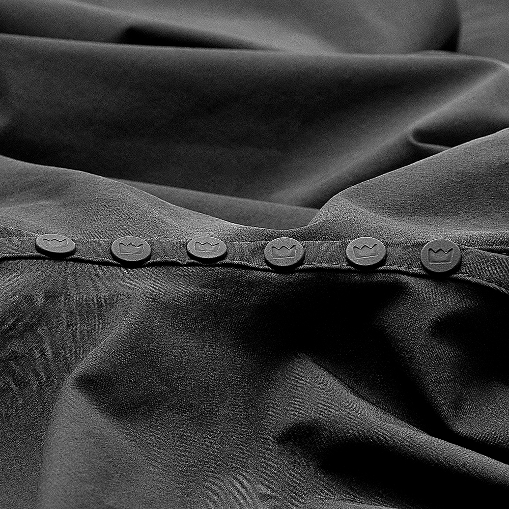 Imperial Sullen Barber Cape Button Detail